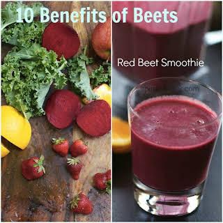 Red Beet Vitamix Smoothie with Kale, Apple, Orange, Berries in the Vitamix.