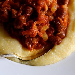 Borlotti Beans in Tomato Sauce with Creamy Parmesan Polenta.
