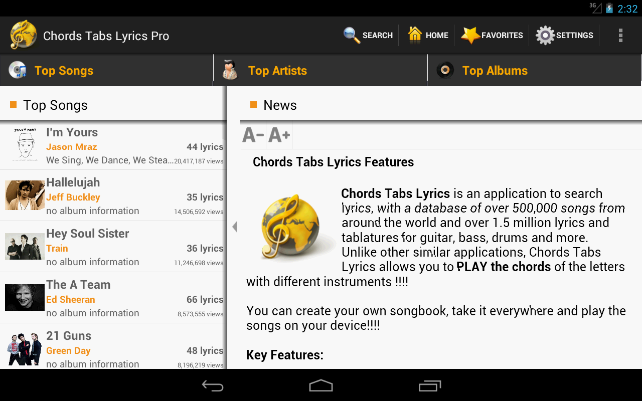 Chords Tabs Lyrics Pro- screenshot
