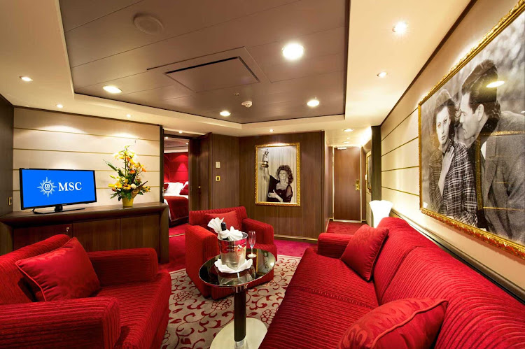 Guests staying in glamorous Suite 16007, the Sophia Loren Suite, can bask in the style of a suite designed the help of the actress. Located on deck 16 of MSC Divina, it's available to Yacht Club members.