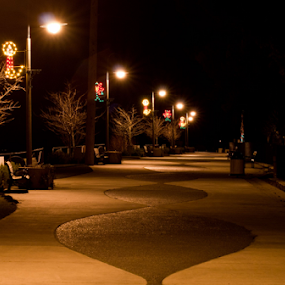 Riverwalk at Night by Brian Stout - City,  Street & Park  Night ( park, citybynight, riverwalk, dark, night, ferndale, city )