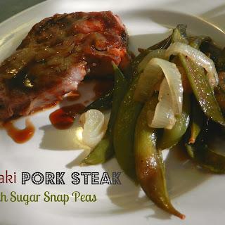 Teriyaki Pork Steak with Sugar Snap Peas.