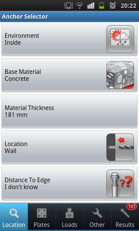 Hilti Anchor Selector- screenshot