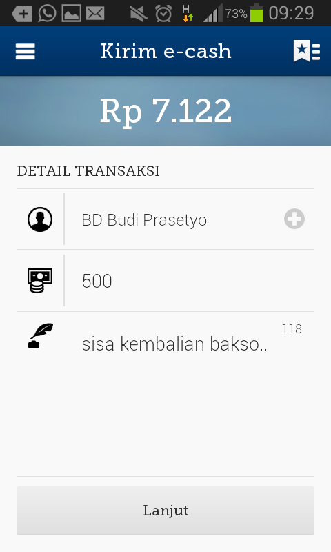 mandiri e-cash - screenshot