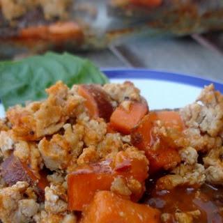 Buffalo Chicken and Sweet Potato Meatza