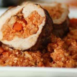 Andouille Sausage & Rice Stuffed Pork Tenderloin.