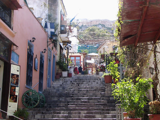 The Plaka, the neoclassical region clustered around the northern and eastern slopes of the Acropolis in Athens, Greece.