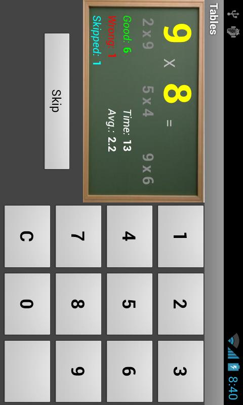 Multiplication Tables- screenshot