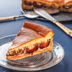 Tart with plum and cream by Dejan Stanic - Food & Drink Plated Food ( cake, tart, bake, cream, plum, candy, dessert, sweet )