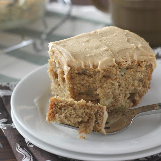 Peanut Butter Apple Snack Cake with Peanut Butter Frosting.