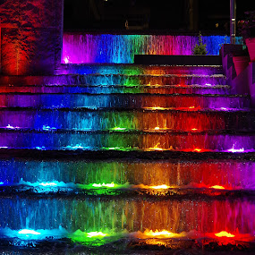 Rainbow Stair by Dyane Kirkland - City,  Street & Park  Fountains ( changing colors, stair fountain, city park, colored water., waterfall fountain, colorful, mood factory, vibrant, happiness, January, moods, emotions, inspiration )
