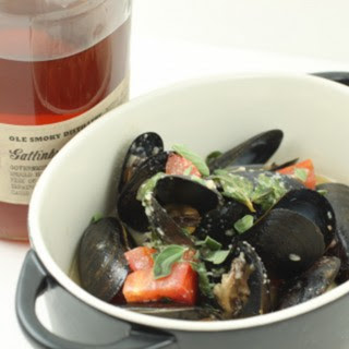 Tennessee Moonshine Mussels with Tarragon