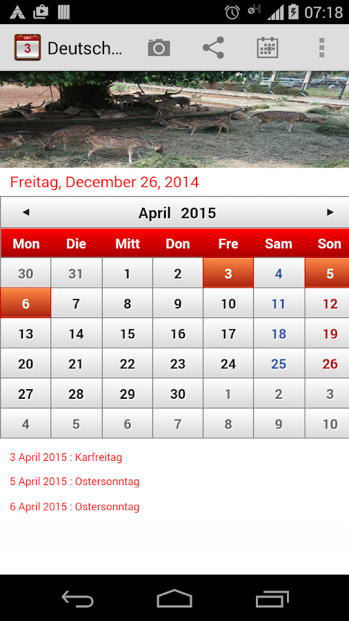 Deutsch kalender 2015 android apps on google play for Horario peru wellness