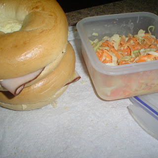 Bagel Sandwiches with Coleslaw.