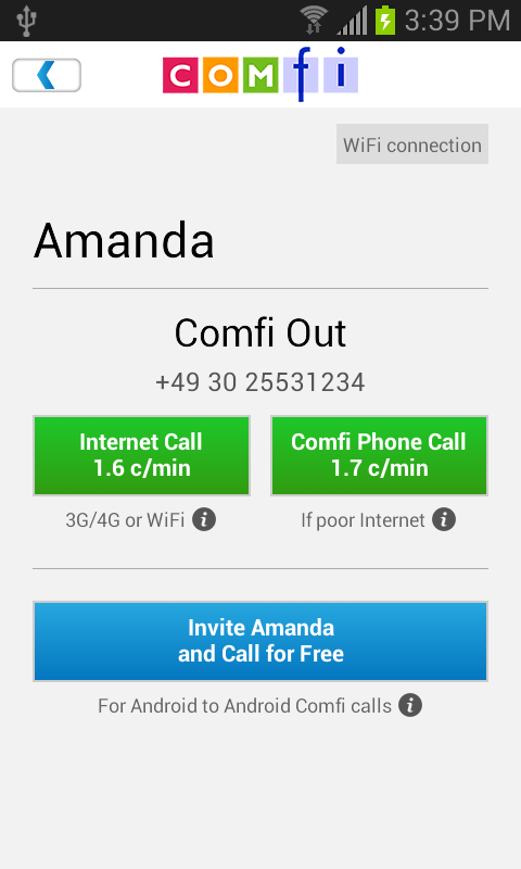 Comfi International Call - screenshot