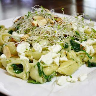 Spinach, Almond, And Feta Pasta.