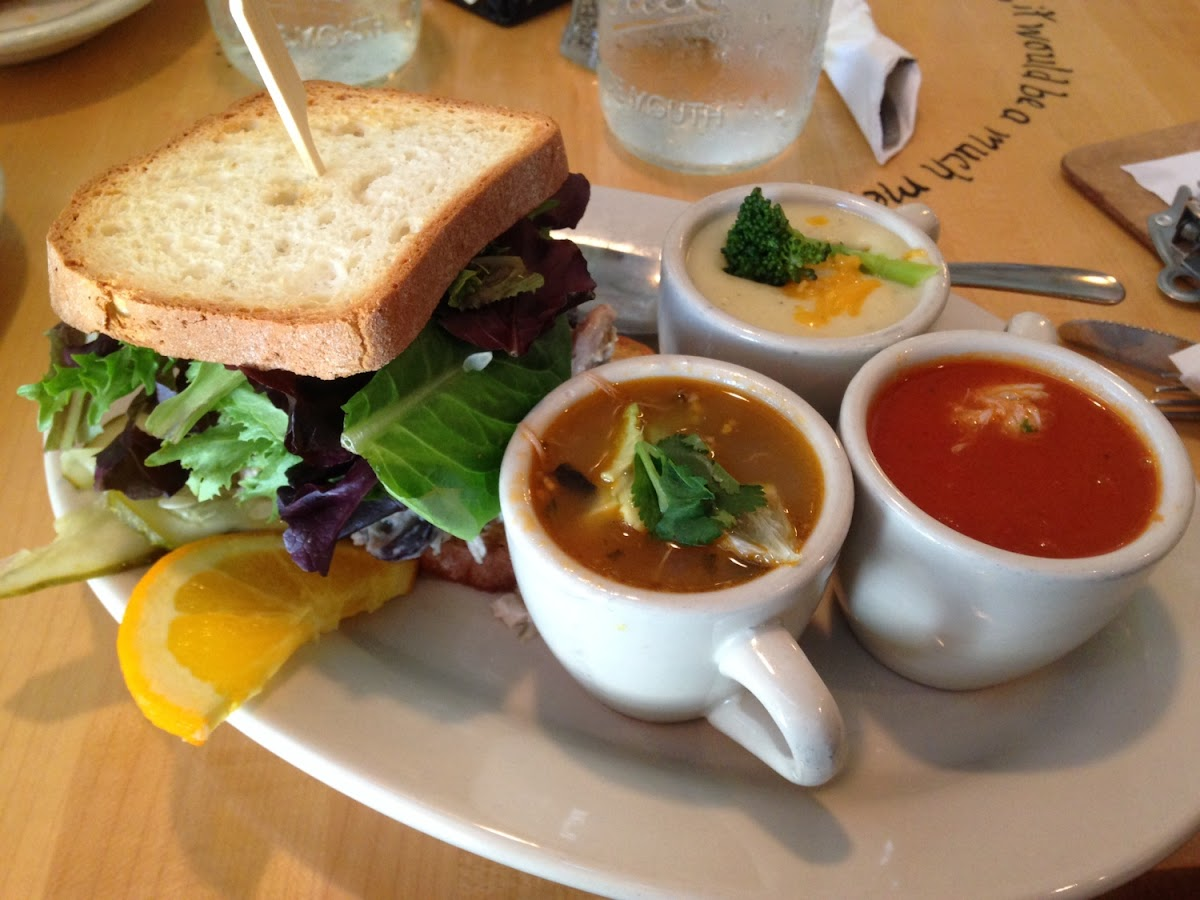 Small chicken salad sandwich and soup sampler