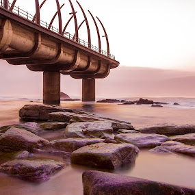 Whale Bone Pier Sunrise by Marc Anderson - Landscapes Waterscapes ( umhlanga, durban, south africa, marc anderson )