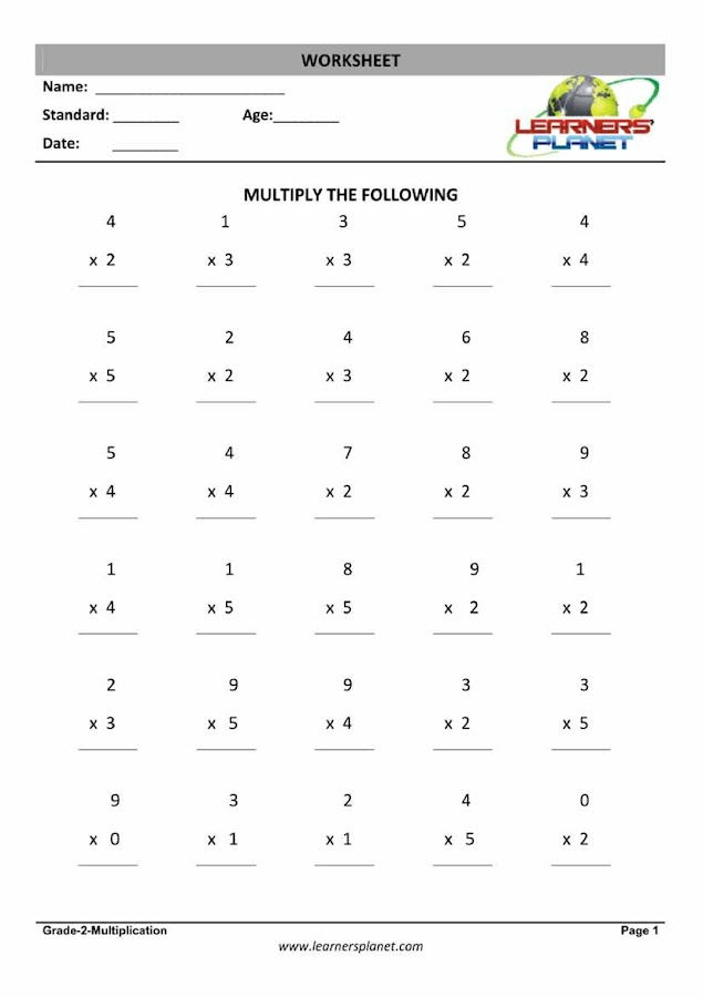 Grade2MathsMental Math2 Android Apps on Google Play – Maths Multiplication Worksheets for Class 2