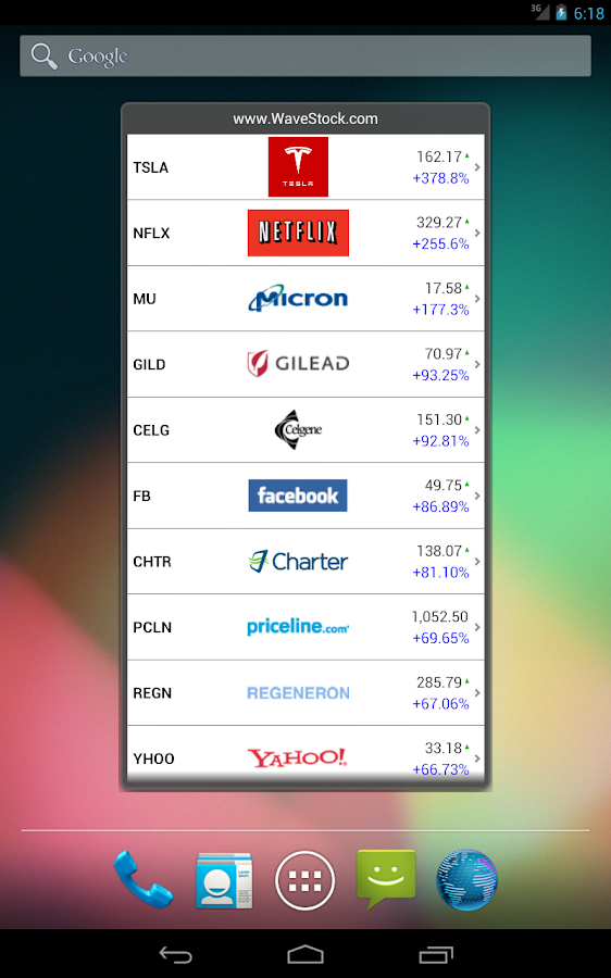 Awesome Stocks Widget- screenshot