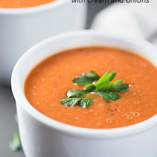 Roasted Tomato Soup with Cream and Onions