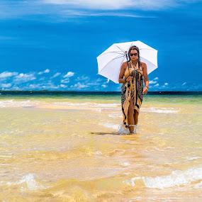 Sandbar Stroll by Jason Rose - People Portraits of Women ( catwalk, parasol, umbrella, fiji, beach )