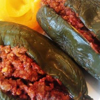 Paleo Spicy Mexican Stuffed Poblanos.