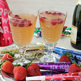 Lemon Raspberry Champagne Cocktail.