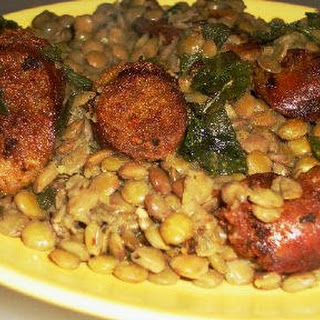 Sausage and Lentils with Fried Sage.