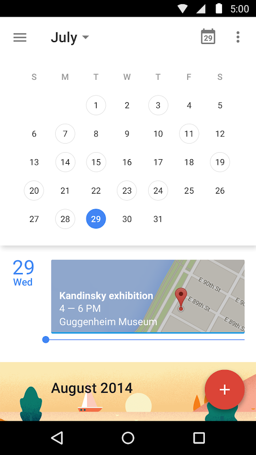 Kalendarz Google - screenshot