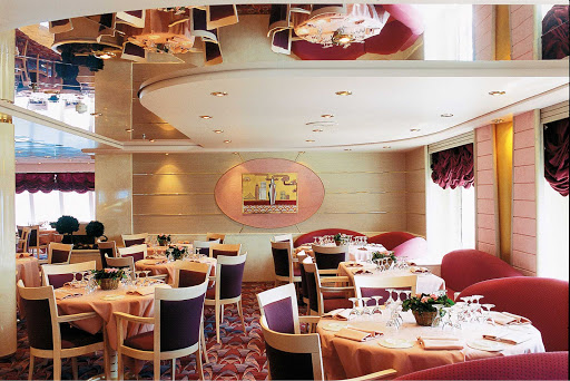 MSC-Opera-L'Approdo - In the mood for fine dining? Head to L'Approdo on deck 6, one of the two main dining rooms aboard MSC Opera.
