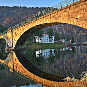The woman on the bridge. Amli Norway by Roger Gulle Gullesen - Buildings & Architecture Bridges & Suspended Structures