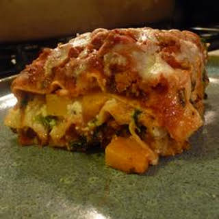 Turkey Lasagna with Butternut Squash, Zucchini, and Spinach.