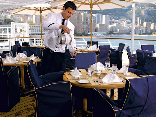 Al fesco in style: Take in the view and the ocean breeze during a casual lunch on the deck of Oceania Nautica's Terrace Café.