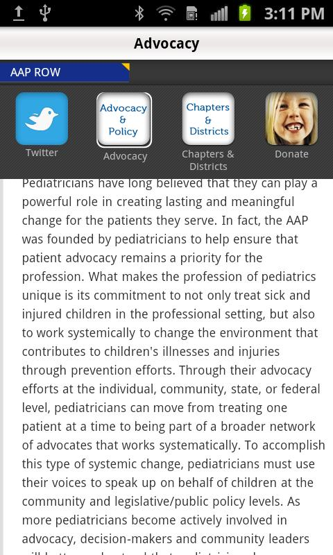 American Academy of Pediatrics- screenshot
