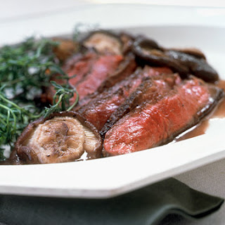 Shell Steak with Shiitake Mushroom Sauce.