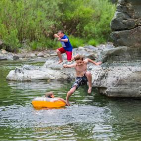 Summer Fun by Scott Morgan - Babies & Children Children Candids ( boys, rock, rocks, boy, swimming, hole, jump, river, country,  )