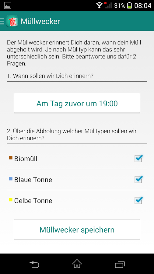 Müll App- screenshot