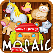 Animated puzzles house animals