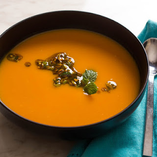 Roasted Sweet Potato Soup With Pistachio, Orange, and Mint Salsa