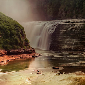 Softly Dark by Sandra Hilton Wagner - Landscapes Waterscapes ( water, stream, mountain, gorge, waterfall )