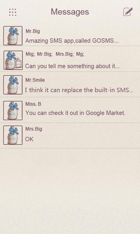 ZMilk GO SMS THEME - screenshot