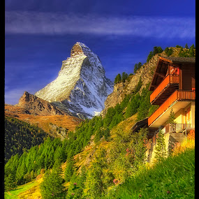 Matterhorn from Zermatt by Petr Klingr - Landscapes Mountains & Hills ( hdr     alps     trees     sun     clouds     matterhorn, zermatt )