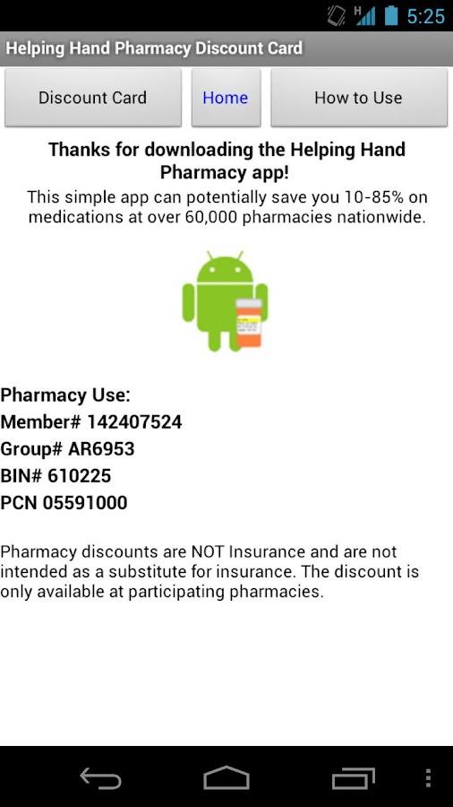 Helping Hand Rx Discount Card- screenshot