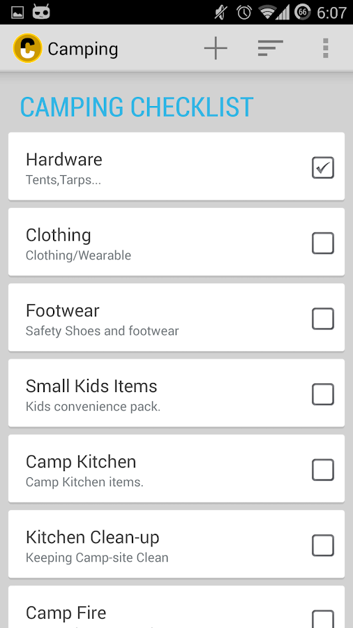 camping checklist pro android apps on google play. Black Bedroom Furniture Sets. Home Design Ideas