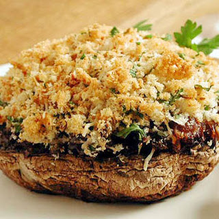 Stuffed Portobello Mushrooms with Olives and Caramelized Onions.