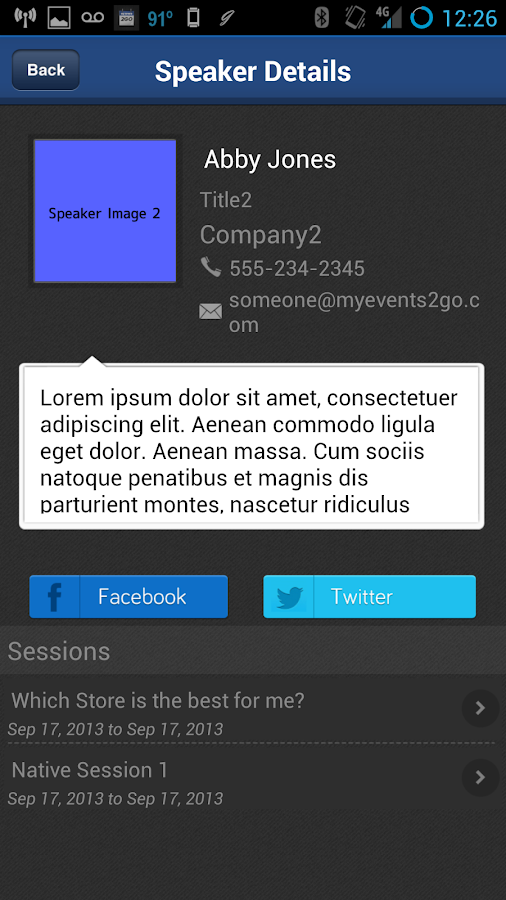 MyEvents2Go™- screenshot