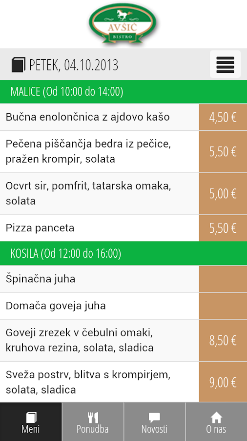 Bistro Avšič - screenshot