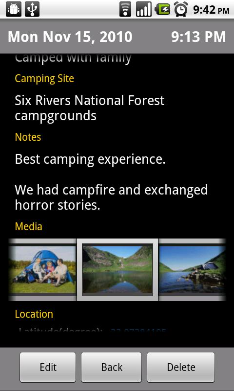Camping Journal - screenshot