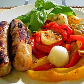 Bratwurst with grilled Peppers and Onions by Elfie Back - Food & Drink Plated Food (  )